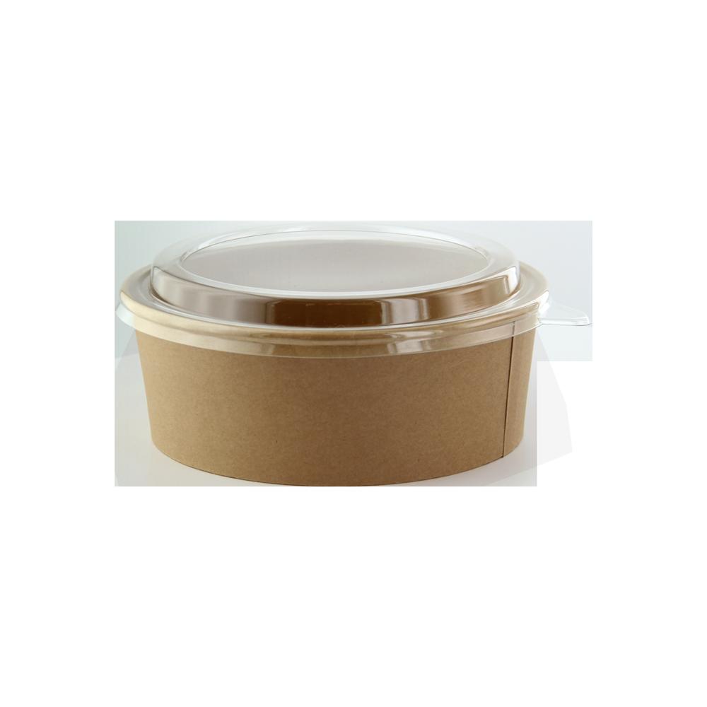 Insalatiera in cartoncino kraft con coperchio in pet combo-pack per asporto e take away di alimenti ristoranti