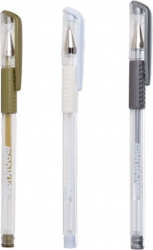 Penna gel metal oro, argento, bianco