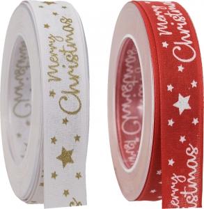 Nastro in tessuto Merry Christmas, disponibile in rosso e bianco-Vendita all'ingrosso online