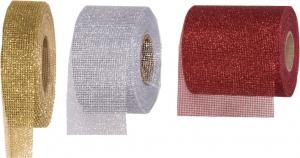 Nastro rete glitter- Disponibile nei colori rosso, oro e argento. vendita all'ingrosso e online