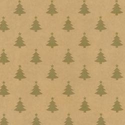 Carta regalo kraft con stampa pini oro in confezione da 25 fogli