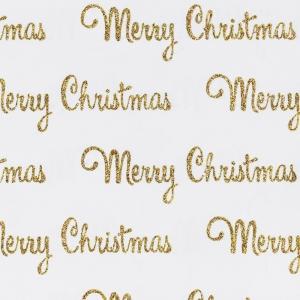 Carta da regalo glitterata bianca con scritte oro (10 fogli)