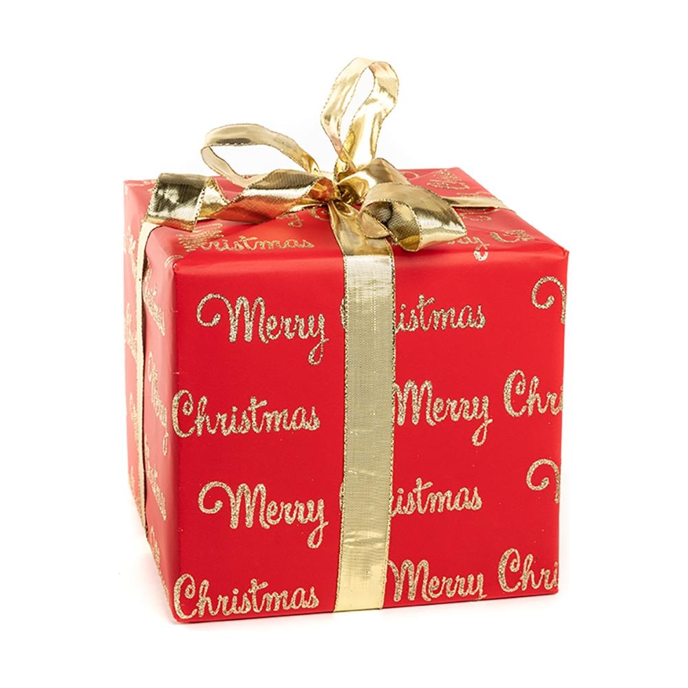 Carta da regalo glitterata rossa con stampa scritte color oro