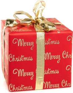 Carta da regalo glitterata rossa con stampa scritte color oro in confezione da 10 pezzi.