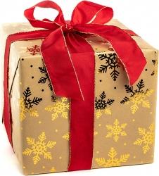 Carta regalo metal kraft con stamp fiocchi di neve in confezione da 10 fogli