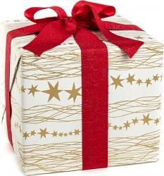 Carta da regalo eco bianca con stampa stelle oro in confezione da 25 fogli