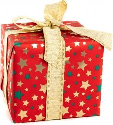 Carta da regalo con fantasia stelline oro in confezione da 25 fogli
