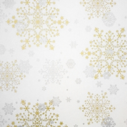 Carta velina da regalo con stampa fiocchi di neve oro