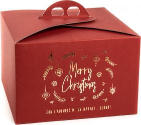 scatola porta panettone con stampa merry xmas per un natale buono