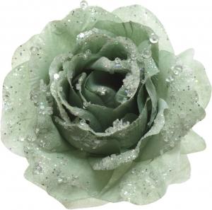 Rosa con clip verde