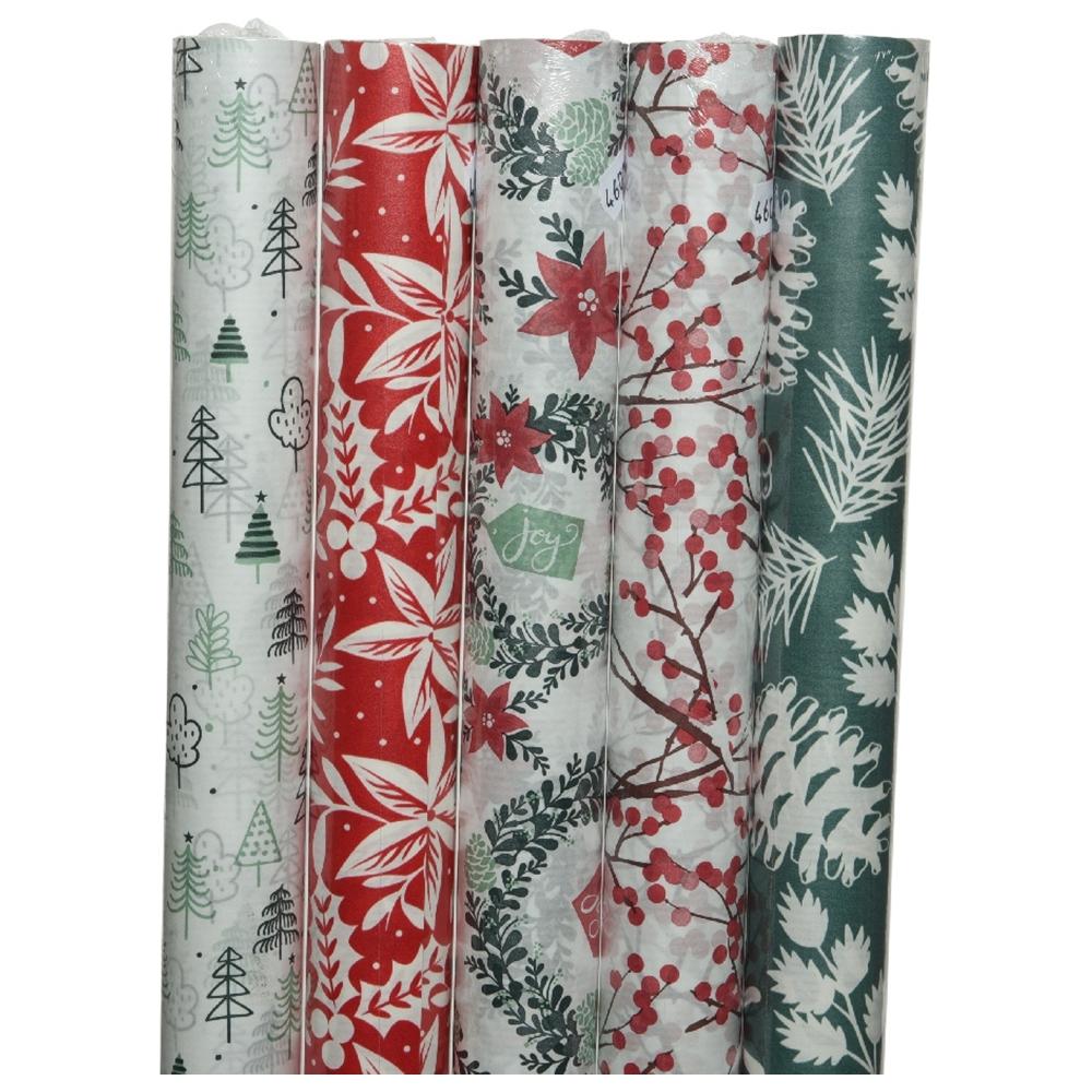 Bobina di carta da regalo alberi e bacche