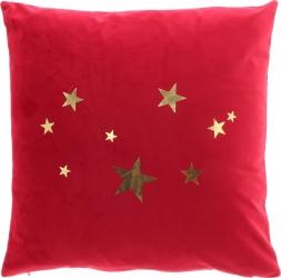 Cuscino rosso con stelline oro
