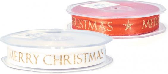 Nastro doppio raso con stampa Merry Christmas color oro