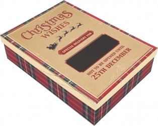 Scatola regalo tartan con scritta special Delivery e con lavagna
