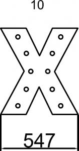 Maxi lettera X luminosa con struttura in metallo