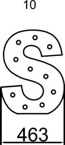Maxi lettera S luminosa con struttura in metallo