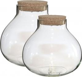 Vaso in vetro con led e tappo in sughero