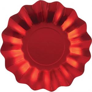 Piatti in carta ondulati satin rosso in confezione da 8 pezzi