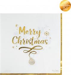 Tovaglioli 3 veli con stampa scritta Merry Christmas in confezione da 16 pezzi
