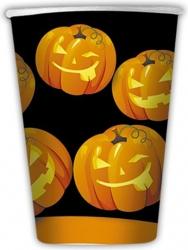 Bicchieri in cartoncino con stampa zucche Halloween in confezione da 8 pezzi