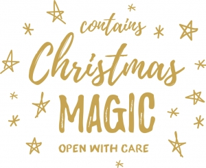 Buste in tessuto non tessuto bianco con stampa Christmas magic in oro