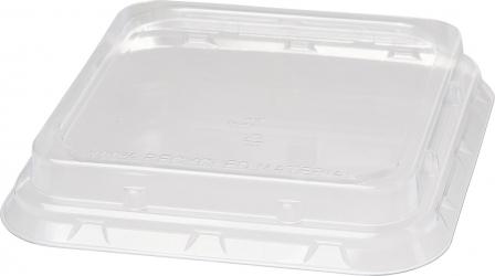 coperchi per chiusura ciotola quadrata in bagassa in materiale plastico Rpet trasparente delivery take away