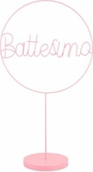 Cerchio battesimo con base rosa