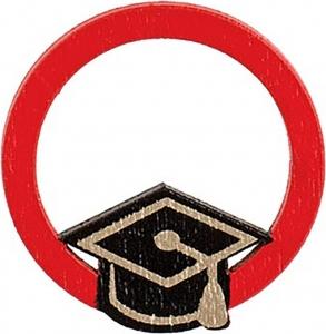 Cerchio rosso con tocco laurea in legno (12 pezzi)
