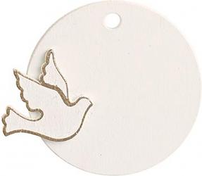 Decoro tondo pendente con colomba (12 pezzi)