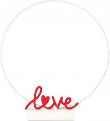 Cerchio bianco con scritta love rosso e led 50