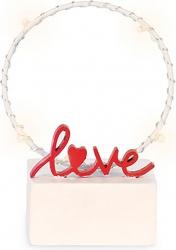 Cerchio bianco con scritta love rosso e led 12cm