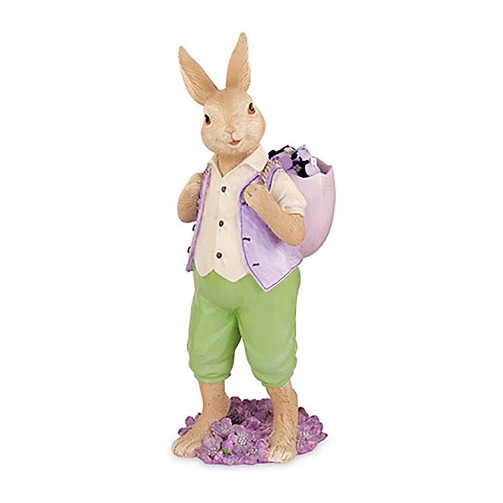 Coniglio in piedi con gerla uovo