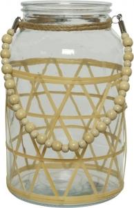 Vaso in vetro e bamboo
