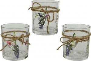 Porta tealight in vetro con fiorellini