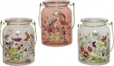 Vasetto in vetro con decoro fiori