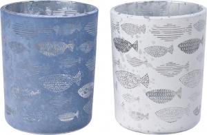 Porta candela in vetro con decoro pesci