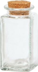 Vasetto rettangolare in vetro con tappo in sughero