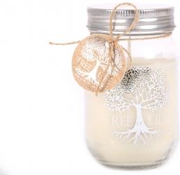 barattolo in vetro con decoro albero della vita con candela