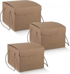Box contenitore con cordini colore avana per servizi delivery o per regalo Natale Pasqua vendita Ingrosso online