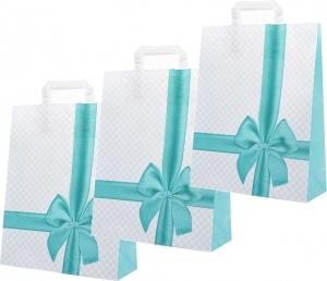 Sacchetti in carta con fiocco color acqua marina