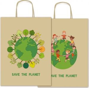 Busta shopper in carta Eco Save the Planet