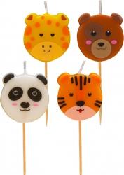 candeline zoo party in confezione da 4 pezzi