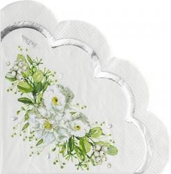 Tovaglioli smrlati 3 veli Wedding Green in confezione da 16 pezzi