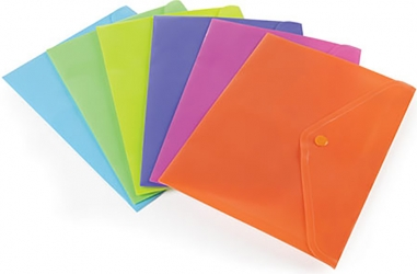 Buste con bottone color fluo in confezione da 6 pezzi