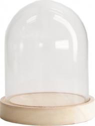 Campana in vetro con base in legno
