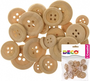 Bottoni in legno, confezione da 30 pezzi