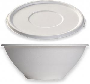 Insalatiera tonda con coperchio in confezione da 15 pezzi combopack compostabile in polpa bianca vendita online all'ingrosso b2b