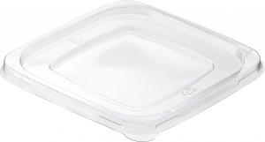Coperchio trasparente in PET per ciotola quadrata in polpa COMPOSTABILE bianca Articoli Take Away e Delivery ingrosso online