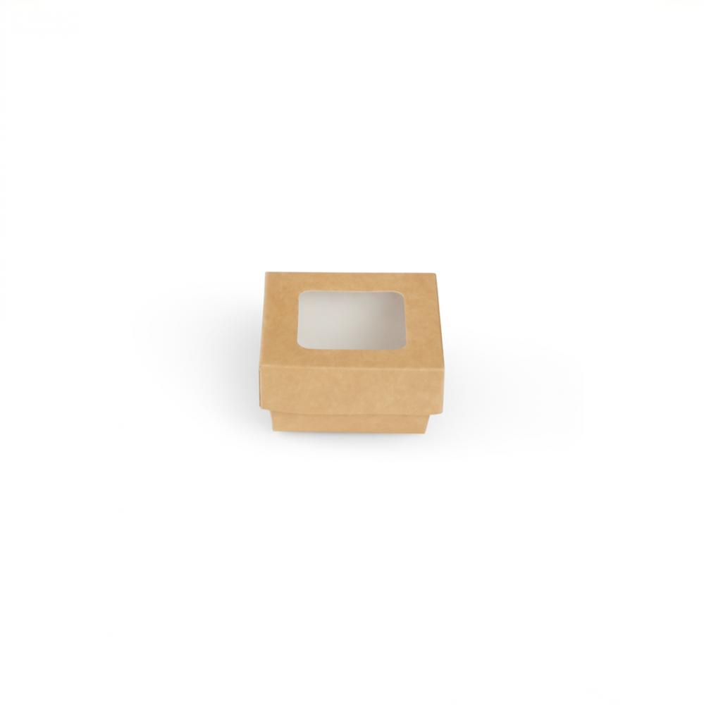 Scatole kray per sushi e dolci con finestra colore avana - ingrosso b2b online vendita per professionisti - 85x85x40mm