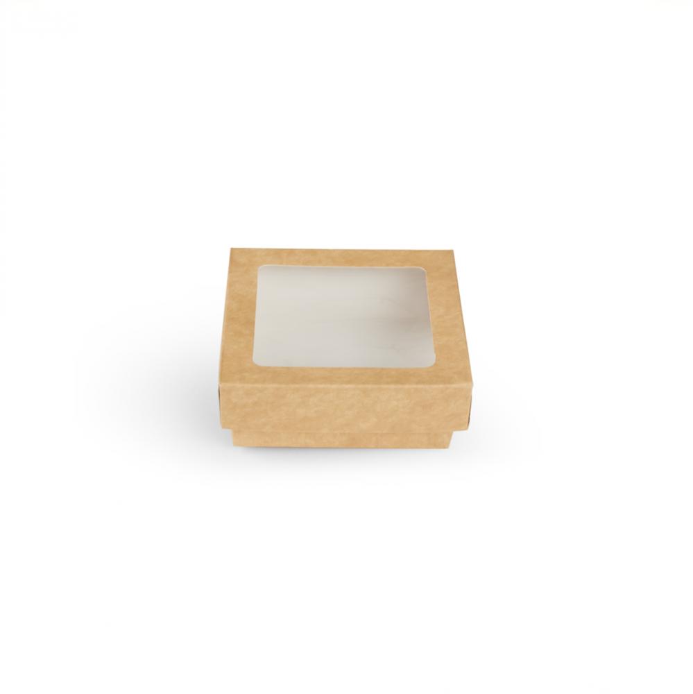 Scatole kray per sushi e dolci con finestra colore avana - ingrosso b2b online vendita per professionisti - 115x115x40mm
